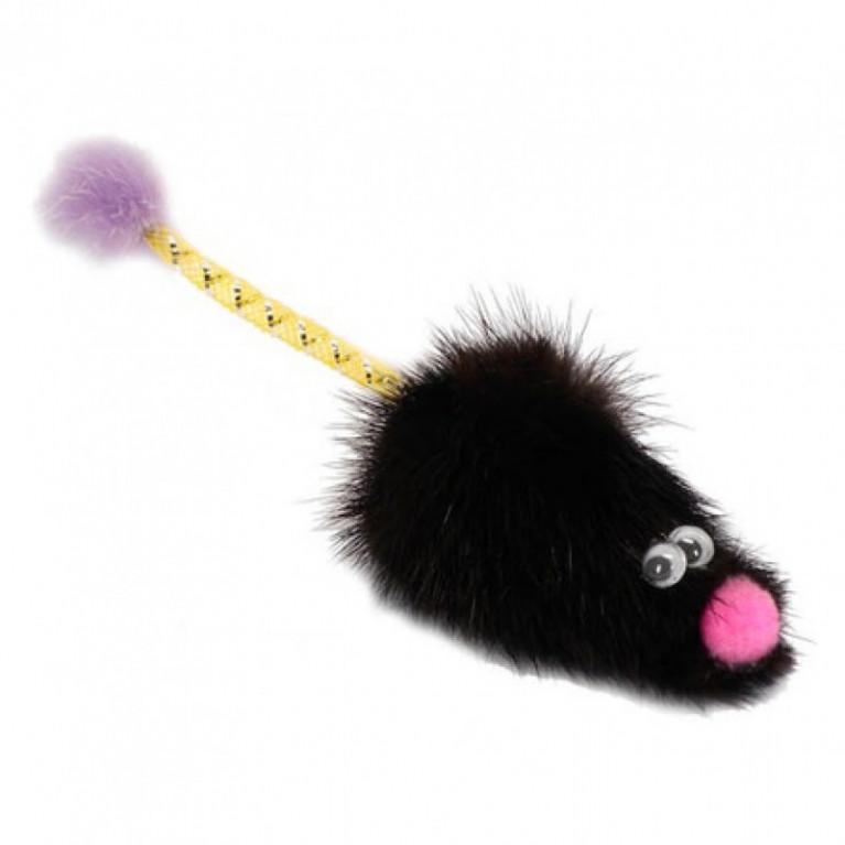 """GoSi Игрушка для кошек """"Мышь норка М с хвостом трубочка"""""""