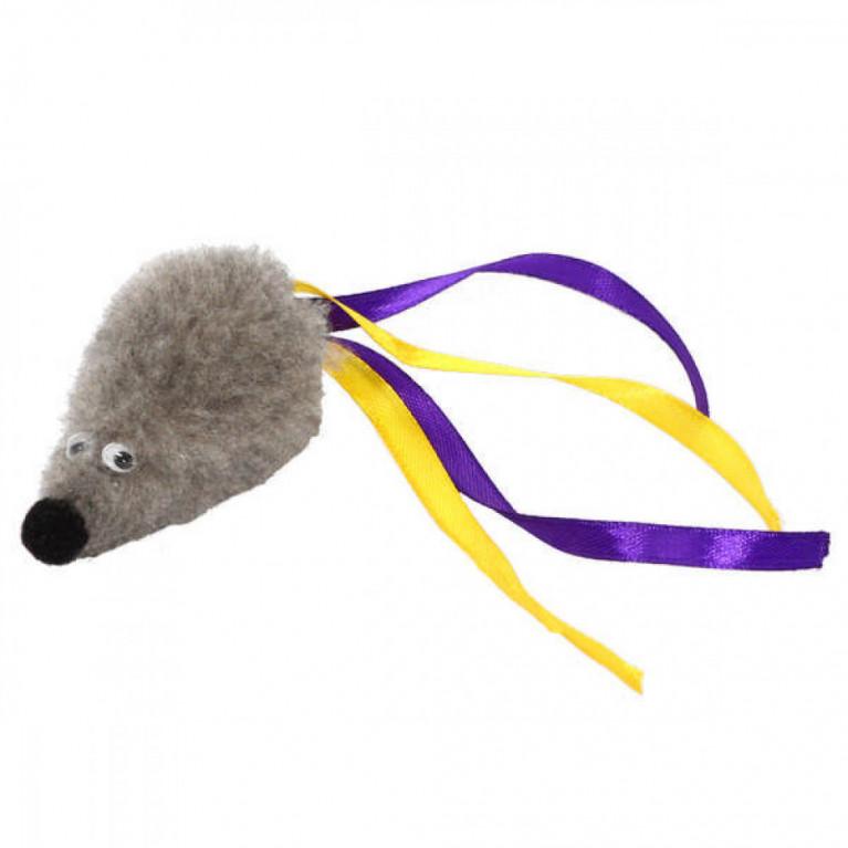 """GoSi Игрушка для кошек """"Мышь с мятой серый мех с хвостом из лент"""""""