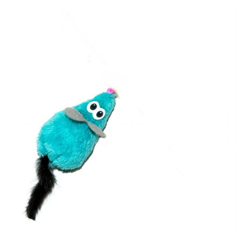 GoSi Игрушка для кошек дразнилка Мышка L голубая с хвостом из нат. Норки