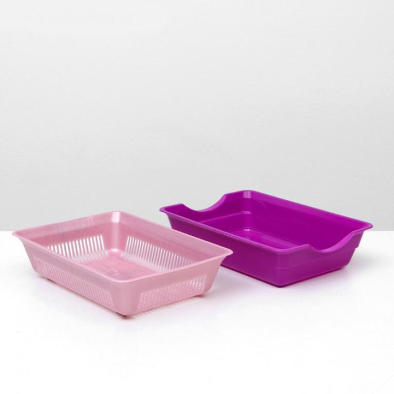 Туалет для кошек глубокий с сеткой Розовый перламутр