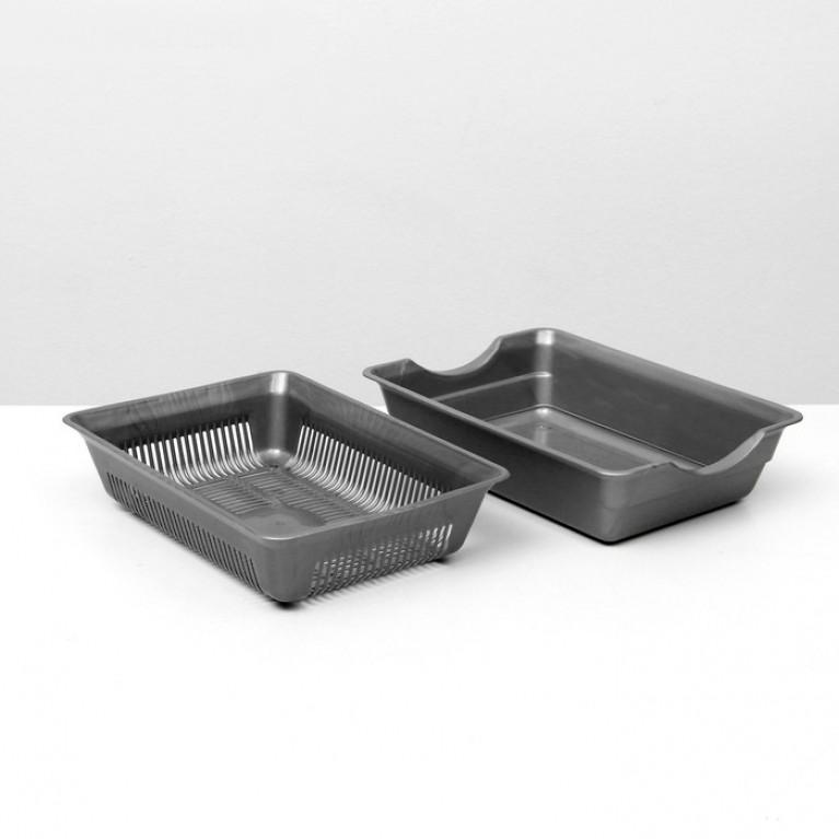 Туалет для кошек глубокий с сеткой Серый