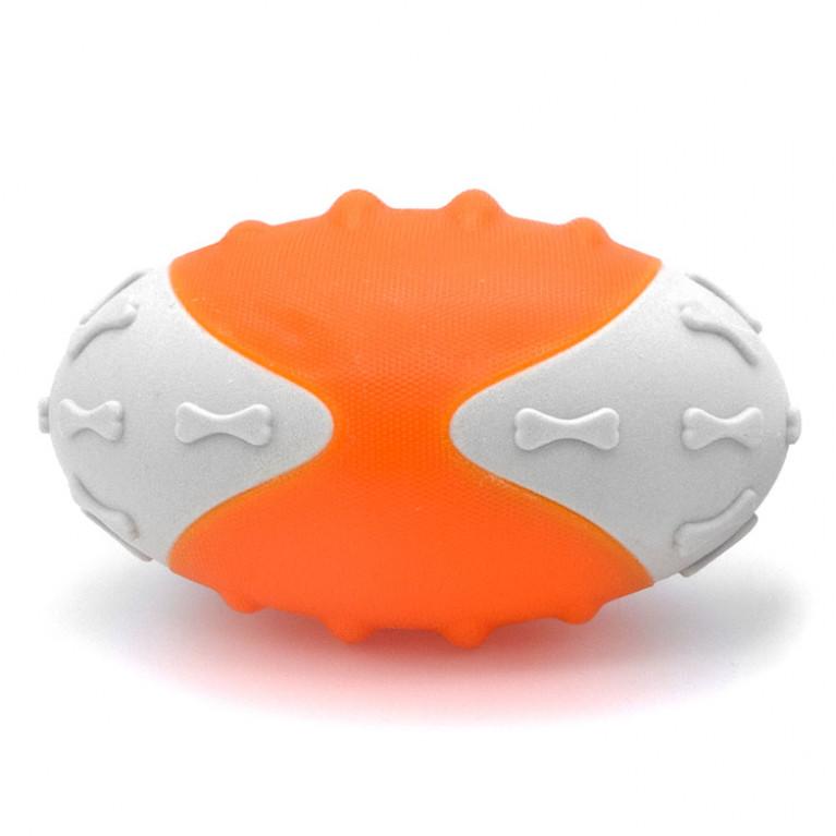 YUGI Игрушка для собак Мяч резиновый овальный серо-оранжевый