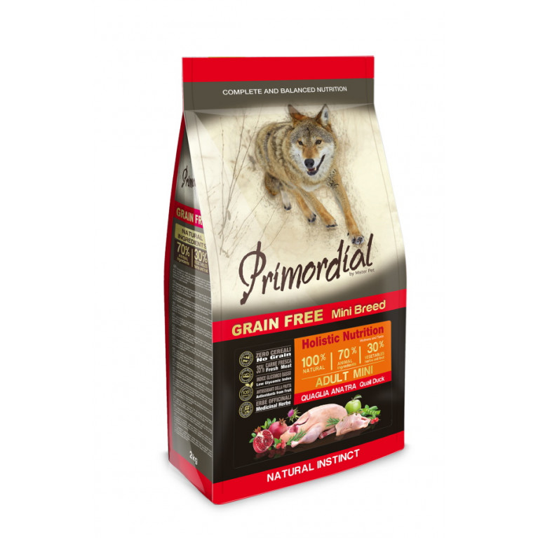 Primordial Dog Adult Mini Беззерновой корм-холистик для взрослых собак мелких пород (Утка, перепел)
