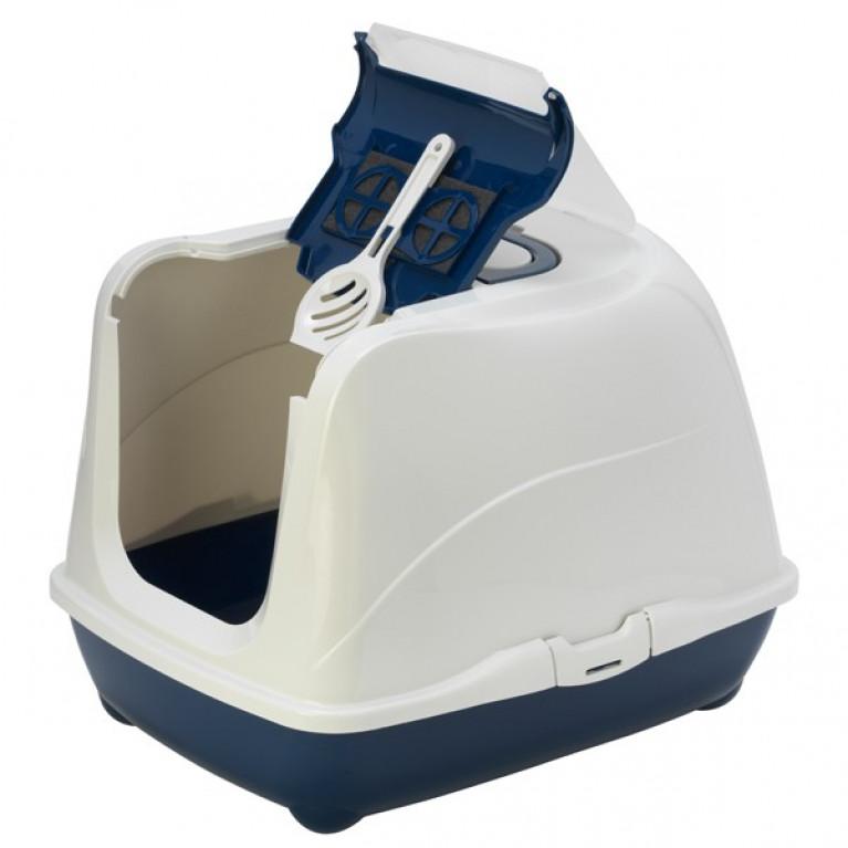 МОДЕРНА ФЛИП КЭТ закрытый туалет для кошек, с откидной крышкой, 50х39х37 см. цвет синий