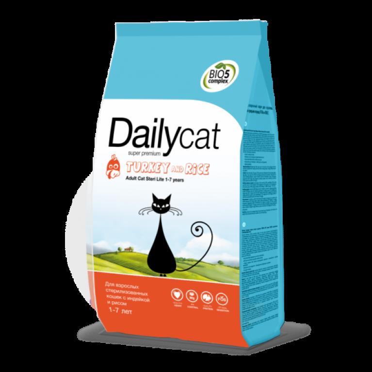 Dailycat ADULT Steri Lite Turkey & Rice/Для взрослых стерилизованных кошек с индейкой и рисом