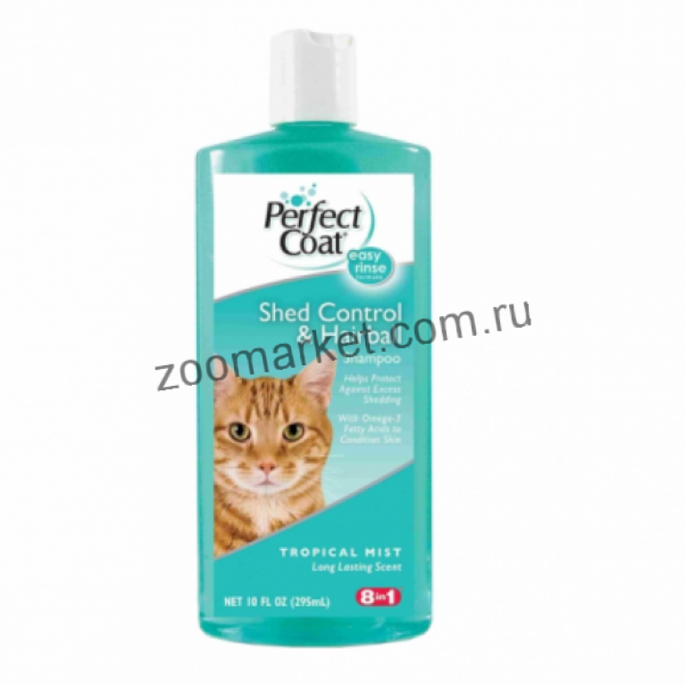 8in1 PC Shed Control & Hairball/Шампунь для кошек против линьки и колтунов с тропическим ароматом, 295 мл