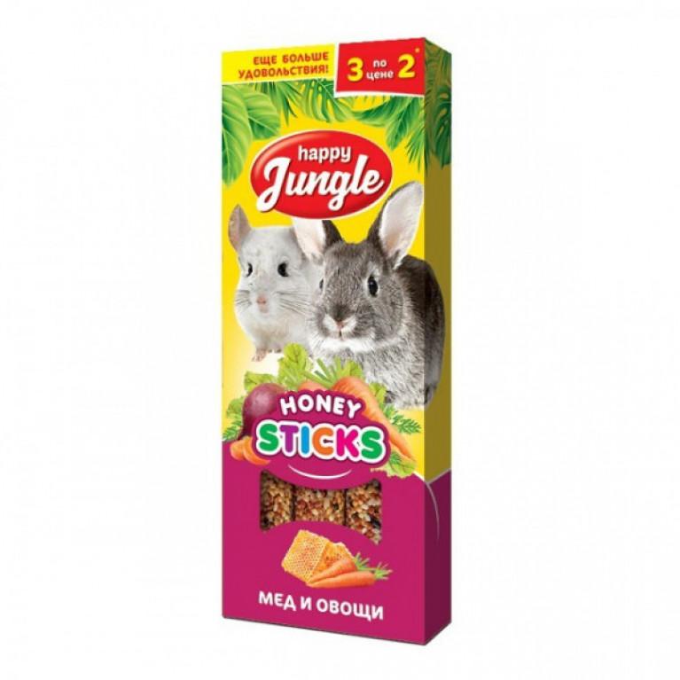 Happy Jungle Колба для крупных грызунов Мёд и Овощи (3 палочки) 90г
