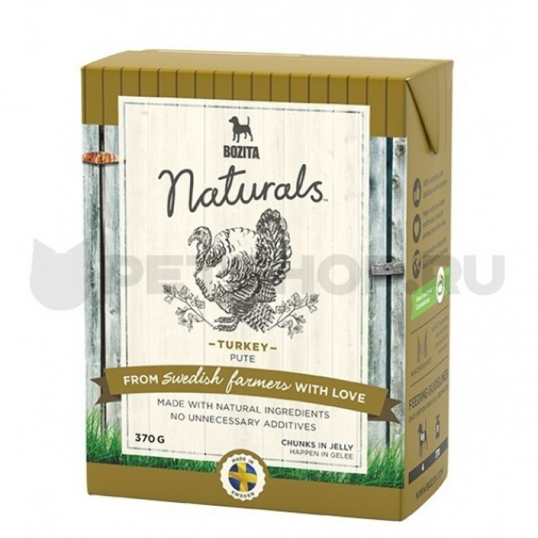 Bozita Naturals кусочки в желе для собак с индейкой 370г