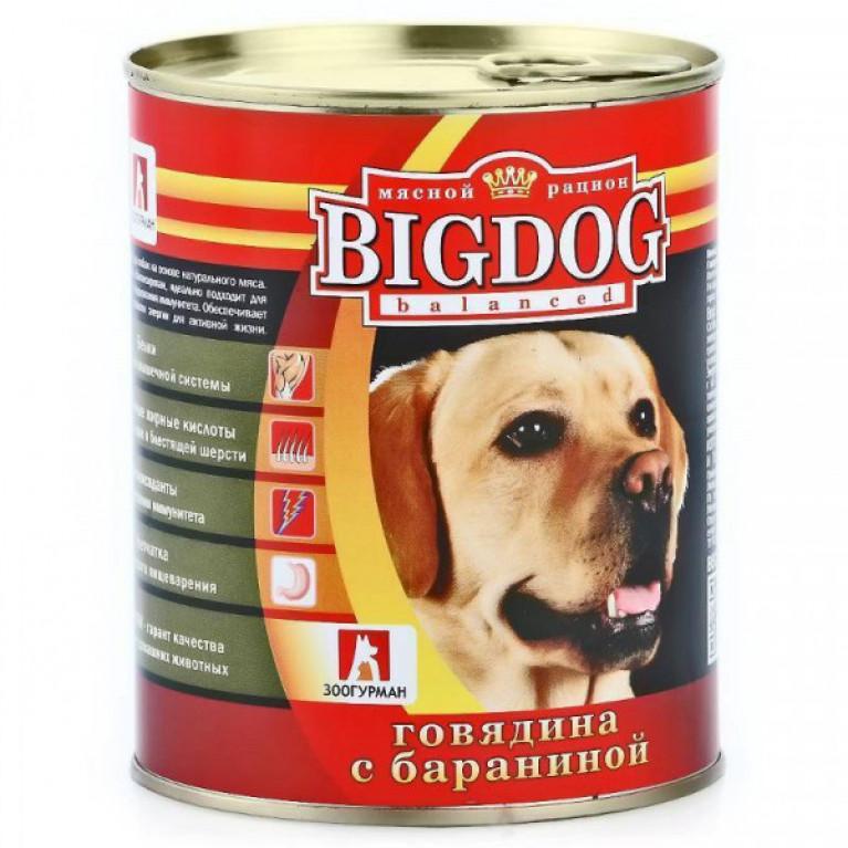 """Big Dog консервы для собак """"Говядина с бараниной"""" 850гр"""