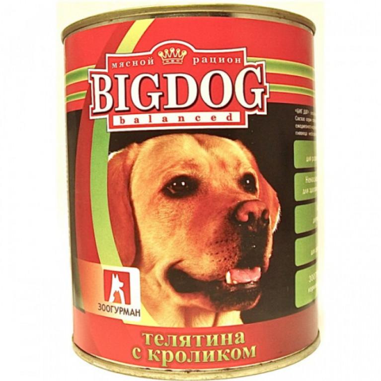 """Big Dog консервы для собак """"Телятина с кроликом"""" 850гр"""