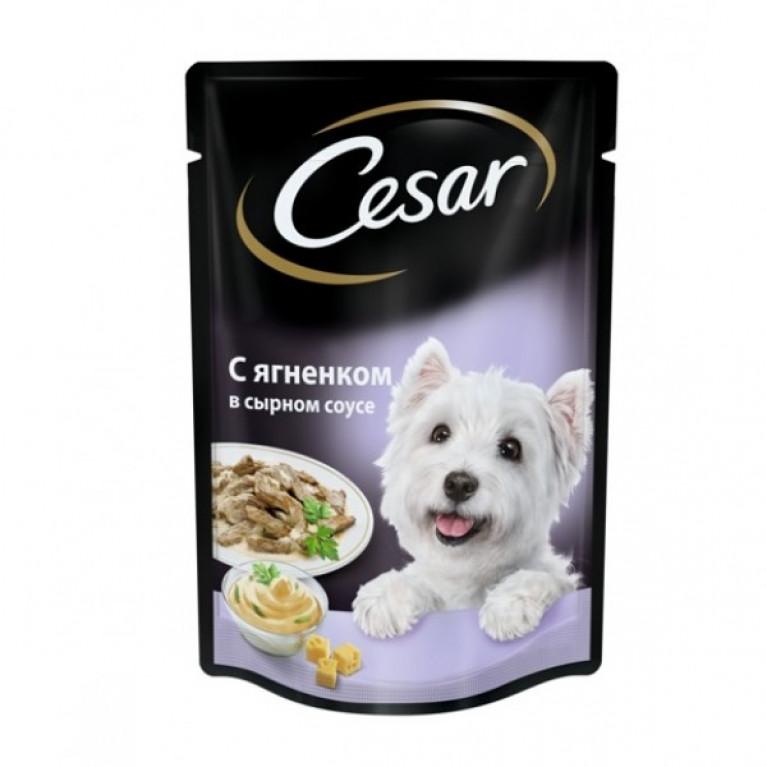 CESAR Влажный корм для собак( пауч с ягненком в сырном) соусе 100 г, 5 шт