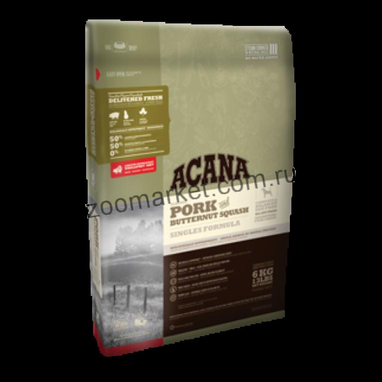 Acana Yorkshire Pork Dog  гипоаллергенный сухой корм для собак с чувствительным пищеварением (свинина и тыква)