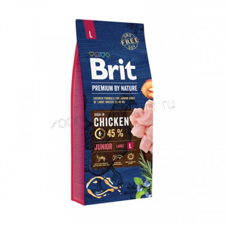 Brit Premium Junior L/Полноценный корм для щенков и молодых собак (3-24мес) крупных пород (от 25 кг) 15 кг.