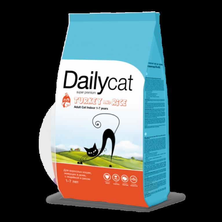 Dailycat ADULT Indoor Turkey & Rice/Для взрослых кошек, живущих в доме, с индейкой и рисом