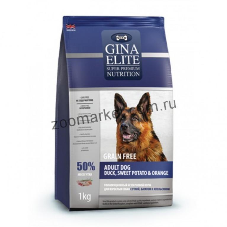 Gina EliteGrain Free Adult Dog Duck, Sweet Potato & Orange Беззерновой корм для взрослых собак с уткой, бататом и апельсином
