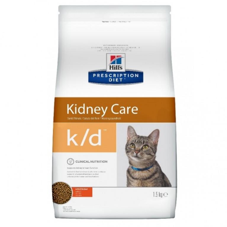 Hill's Prescription Diet K/D Сухой корм для кошек лечение заболеваний почек, профилактика МКБ оксалаты, ураты