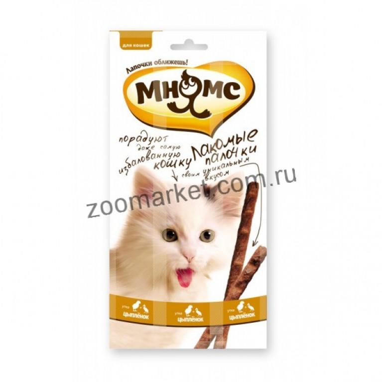 Мнямс Лакомые палочки для кошек (Цыпленок, утка) 13,5 см 1 шт.