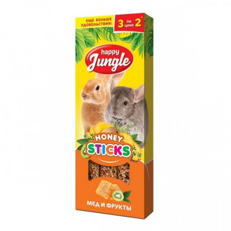 Happy Jungle Колба для крупных грызунов Мёд и Фрукты (3 палочки) 90г