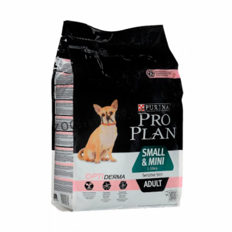 Pro Plan Сухой корм для собак мелких и карликовых пород с чувствительной кожей (Лосось с Рисом)