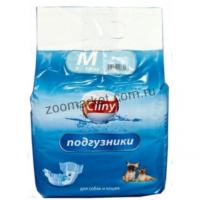 Cliny подгузники для собак и кошек 5-10 кг размер М  9 шт.