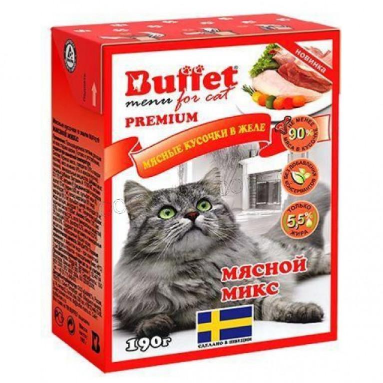Buffet Консервированный корм для кошек микс мясные кусочки в желе 190 г
