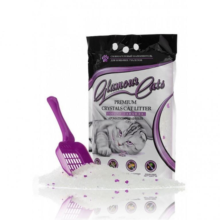 Glamour Cats  Наполнитель силикагелевый с ароматом лаванды, 3,8 л (1,7 кг)