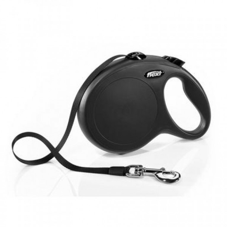 Flexi New CLASSIC L чёрный Поводок-рулетка ремень 8 метров для собак до 50 кг