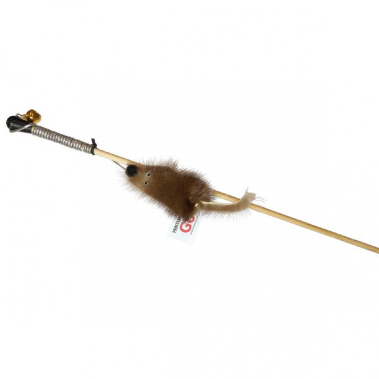 Махалка Мышка на веревке GoSi  (мышка из натуральной норки)