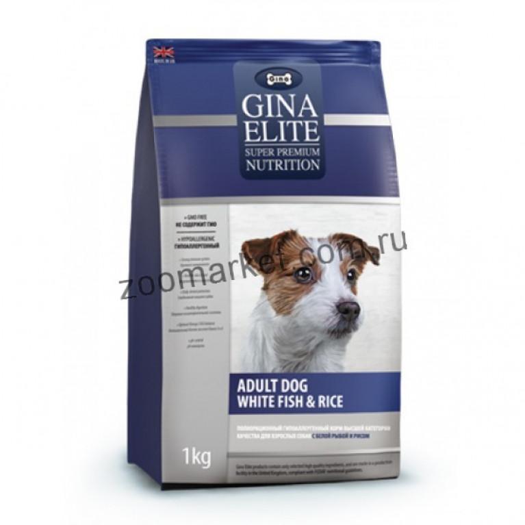 Gina Elite Adult Dog White fish & Rice/Корм высшей категории качества для взрослых собак (с белой рыбой и рисом)