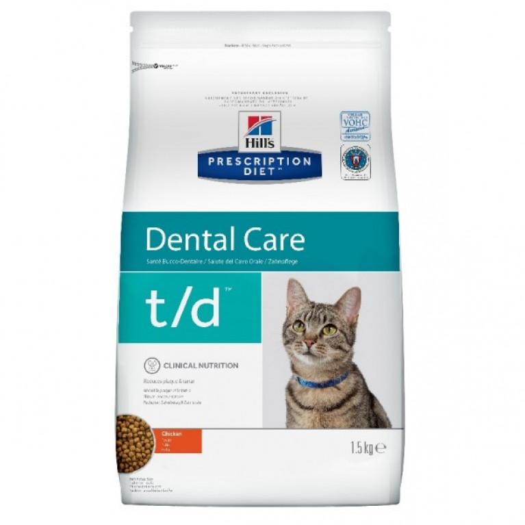 Hill's Prescription Diet T/D Сухой корм для кошек лечение заболеваний полости рта 1,5 кг