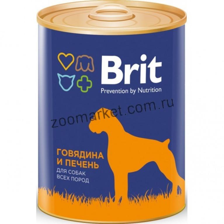 Brit Premium Red Meat & Liver/Консервы для собак Говядина и печень, 850 гр