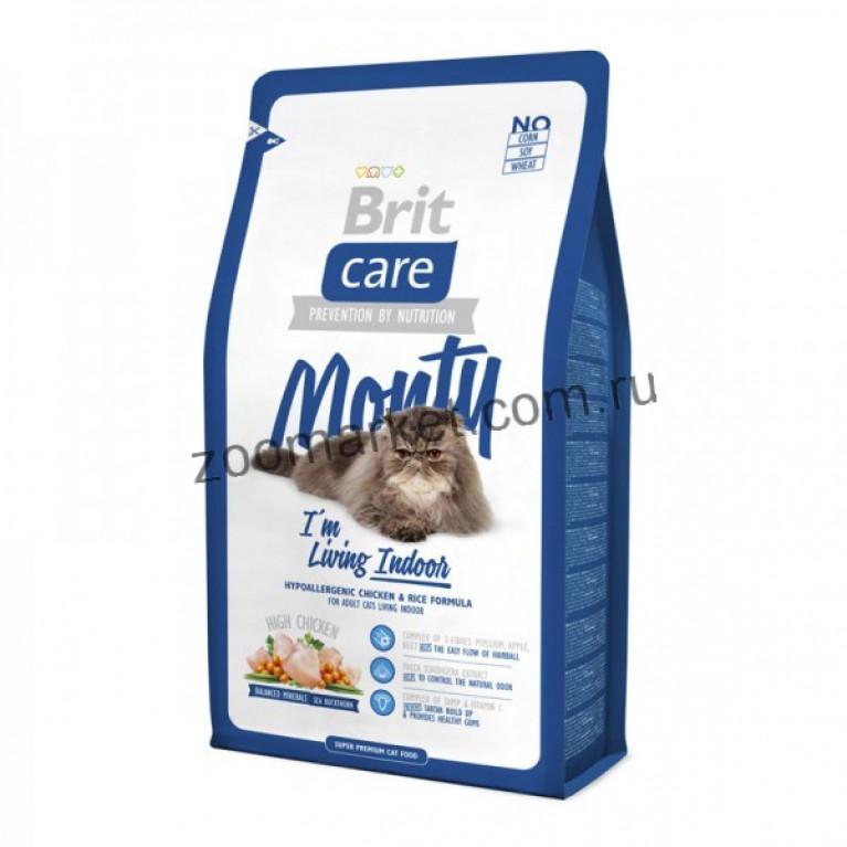 Brit Care Cat MONTY/Высококачественный гипоаллергенный корм с курицей и рисом для взрослых кошек, живущих в доме