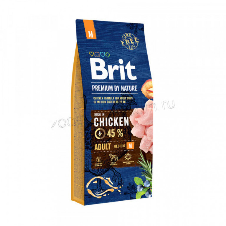 Brit Premium Adult M/Полнорационный корм для взрослых собак средних пород (10–25 кг)