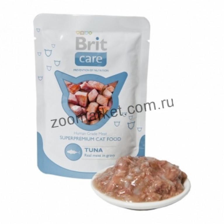 Brit Care Cat/Высококачественный влажный корм с тунцом для взрослых кошек, 80 гр 6 шт.