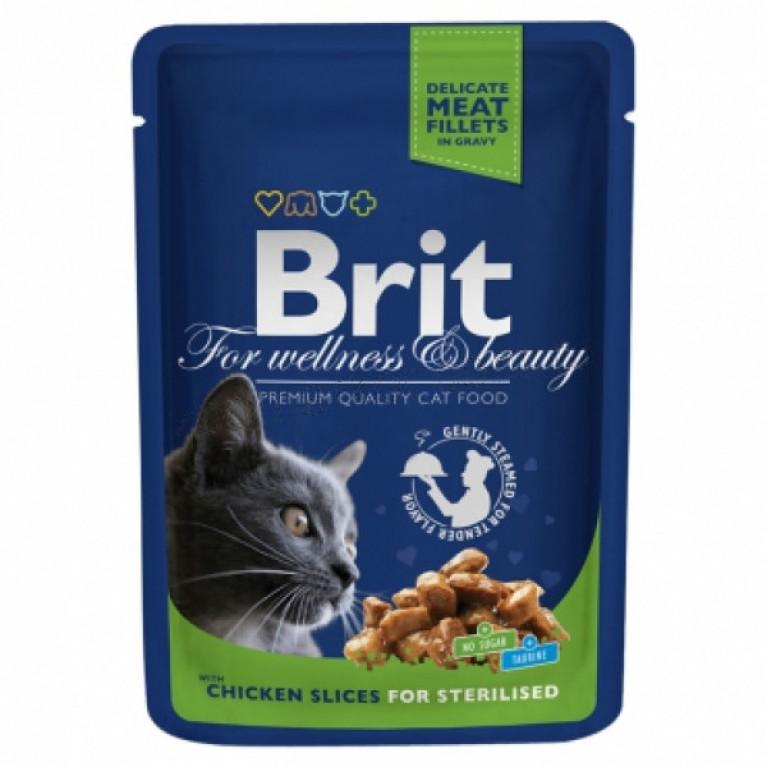 Brit Premium/Высококачественный влажный корм с курицей для кастрированных котов и стерилизованных кошек, 100 гр 6 шт.