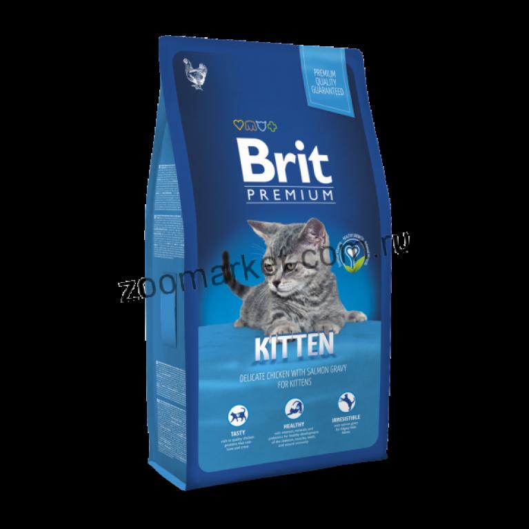 Brit Premium Cat Kitten/Сухой полнорационный корм для котят с курицей в соусе из лосося