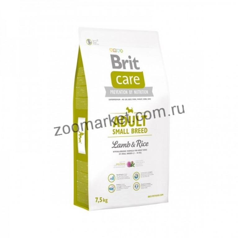 Brit Care Adult Small Breed Lamb&Rice/Полнорационный гипоаллергенный корм с ягненком и рисом для взрослых собак мелких пород