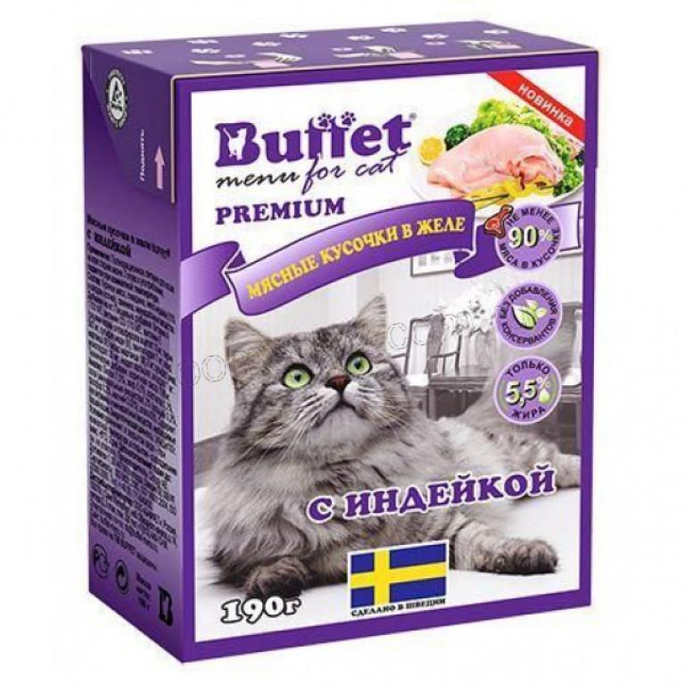 Buffet Консервированный корм для кошек мясные кусочки в желе с индейкой 190 гр