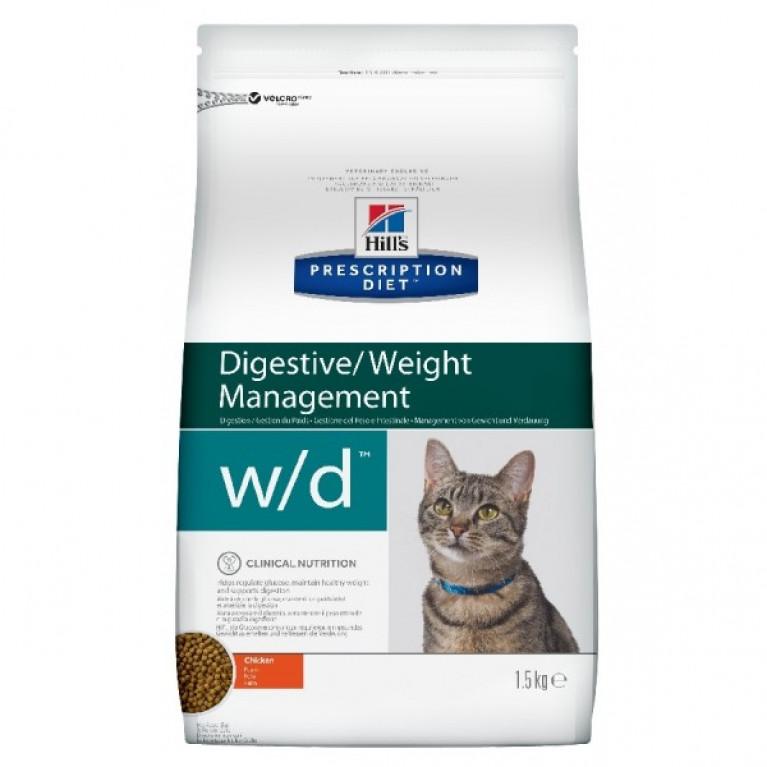Hill's Prescription Diet W/D Сухой корм для кошек лечение сахарного диабета, запоров, колитов