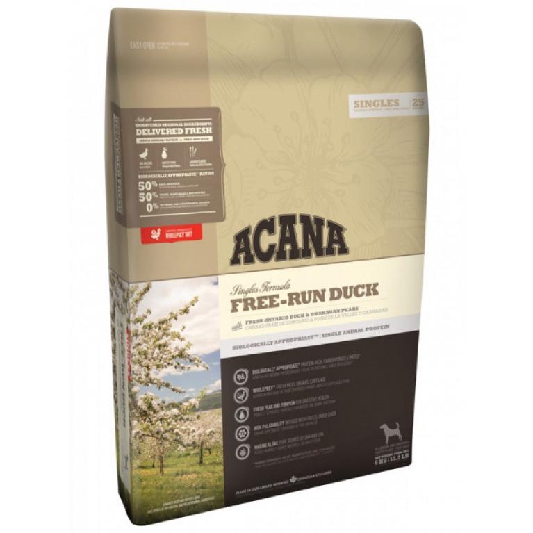 Acana Free-Run Duck Dog Полноценный и сбалансированный корм для всех собак (Утка с грушей)