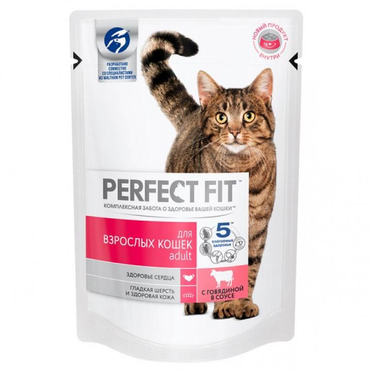 Perfect Fit Adult Влажный корм для взрослых кошек с говядиной 85г