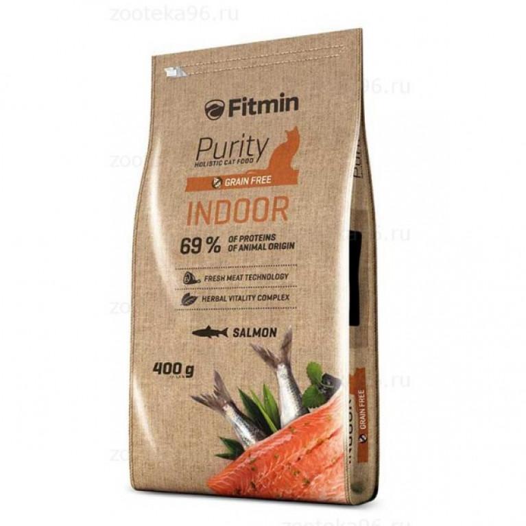 Fitmin Cat Purity Indoor Полнорационный беззерновой корм для взрослых кошек, живущих в помещении.