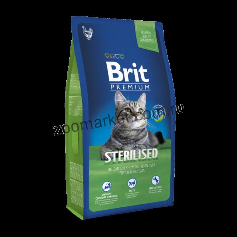 Brit Premium Cat Sterilised/Полнорационный сухой корм для стерилизованных кошек и котов (Курица/печень)