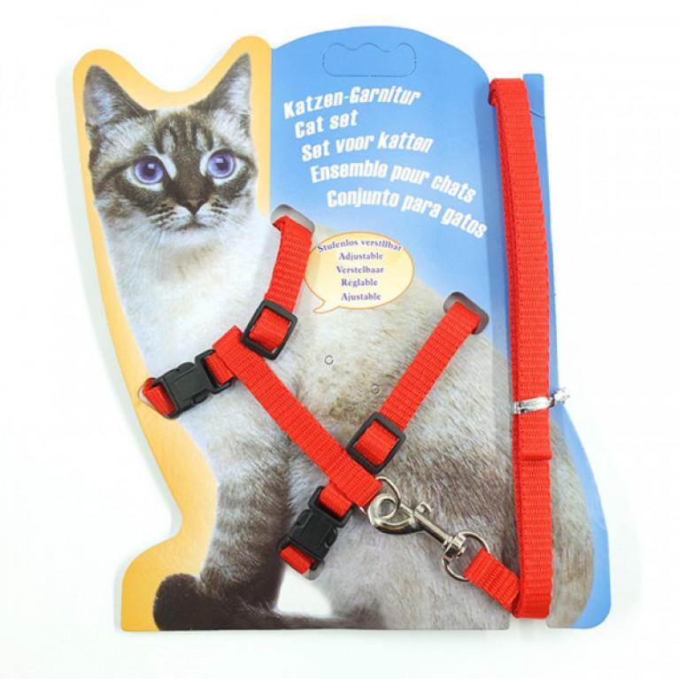Шлейка с поводком для кошек