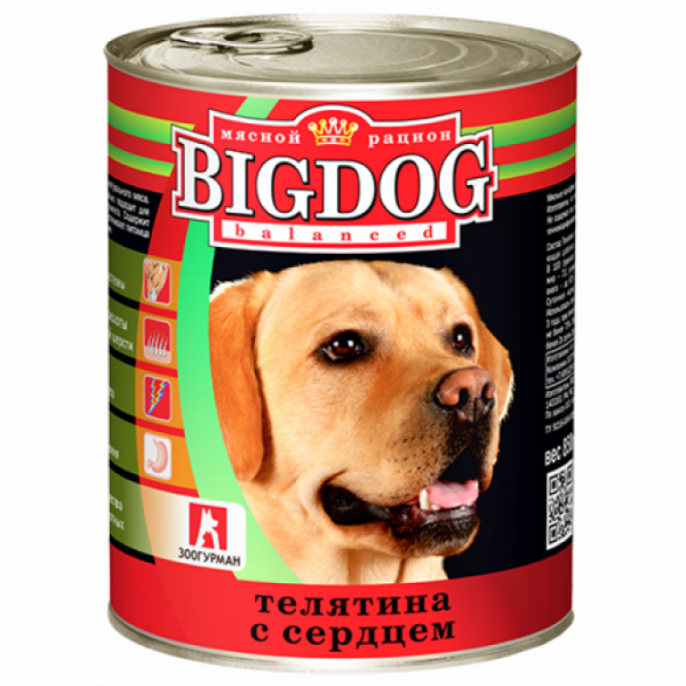 """Big Dog консервы для собак """"Телятина с сердцем"""" 850гр"""