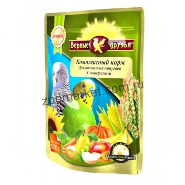 Верные Друзья Премиум Комплексный корм для волнистых попугаев с минералами, 500 гр