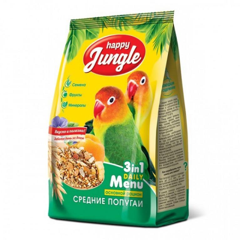 Happy Jungle Корм д/средних попугаев 500гр
