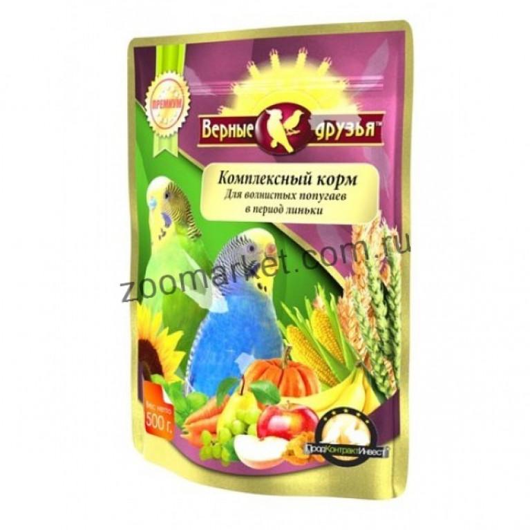 Верные Друзья Премиум Комплексный корм для волнистых попугаев в период линьки, 500 гр