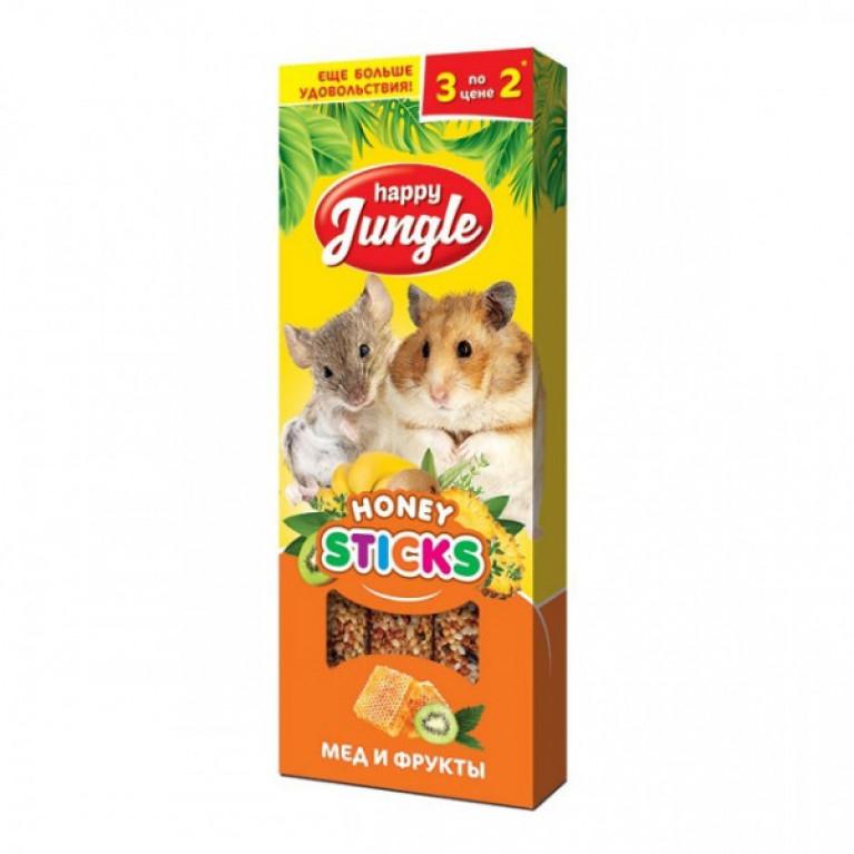 Happy Jungle Колба для мелких грызунов Мёд и Фрукты (3 палочки) 90г