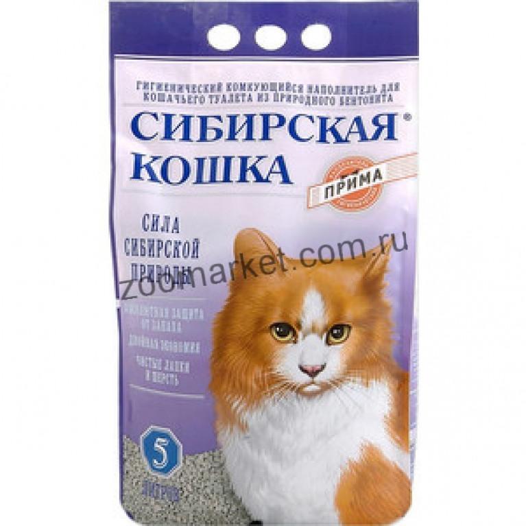Сибирская Кошка Наполнитель для кошачьих туалетов Прима комкующийся, 5 л